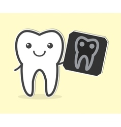 Happy tooth with x-ray film vector