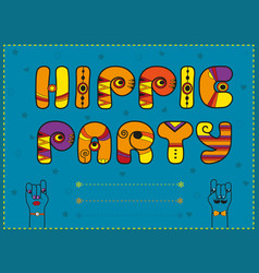 Hippie party funny orange font vector