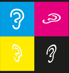 Human anatomy ear sign white icon with vector