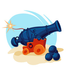 Image of a cannon with cannon balls vector