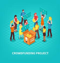 Isometric crowdfunding vector