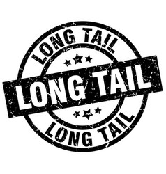 long tail round grunge black stamp vector image vector image