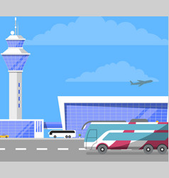 Modern international passenger airport building vector
