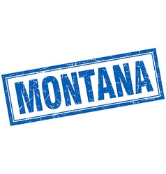 Montana blue square grunge stamp on white vector