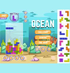 Ocean tetris matching game kit vector