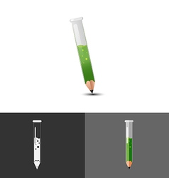 Pencil test tube icon symbol logo vector