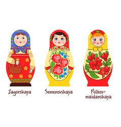 russian matryoshka styles collection vector image