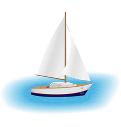 sailing yacht with white sails in a sea luxury vector image vector image