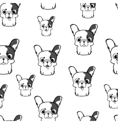 Seamless pattern with french bulldog puppies vector