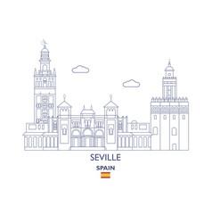 seville city skyline vector image