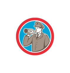 Soldier blowing bugle circle retro vector