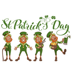 st patricks day lettering text set fun cartoon vector image