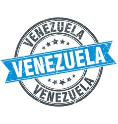 Venezuela blue round grunge vintage ribbon stamp vector