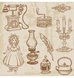 vintage doodle elements vector image