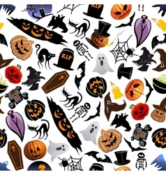 Halloween cartoon seamless pattern background vector image