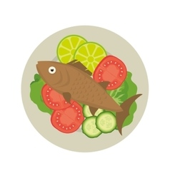 Seafood fish plate vector