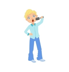 Boy in blue outfit singing in karaoke vector