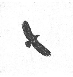 Eagle silhouette symbol retro style letterpress vector