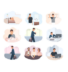 Concept everyday routine set of images schedule vector