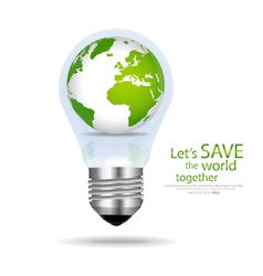 Save the world light bulb with globe inside vector