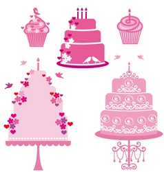 Wedding and birthday cakes vector