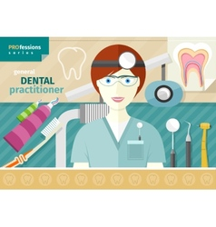 Dentist in uniform with instrument on workplace vector