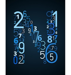 Letter n font from numbers vector