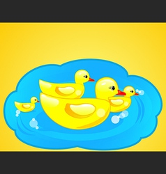 Rubber duck in blue water vector