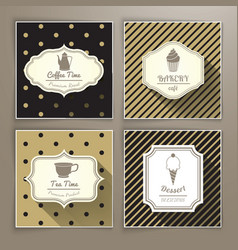 Set of vintage labels coffee bakery tea and vector