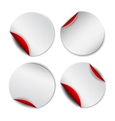 Set of white round promotional stickers with red vector