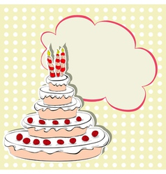 card with cake vector image