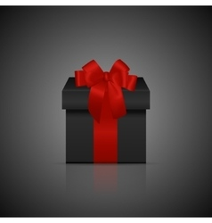 Black square gift box with red ribbon and bow vector