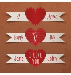 Set of valentines day heart labels with ribbons vector
