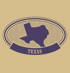 Oval stamp with texas map contour vector