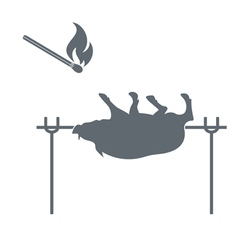 Barbecue boar and match icon vector
