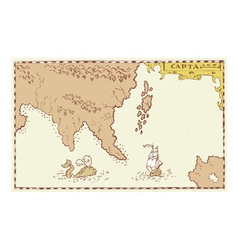 Vintage map treasure island vector