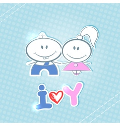 Little boy and girl on a blue background vector