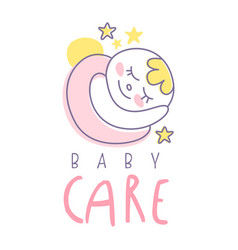 baby care logo emblem with sleeping baby label vector image vector image