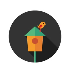 Bird house with bird flat icon vector