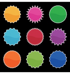 bright retro stickers on black vector image vector image