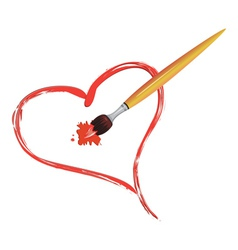 Brush painting a heart vector image vector image