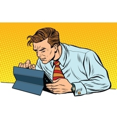 Businessman working on tablet vector image vector image