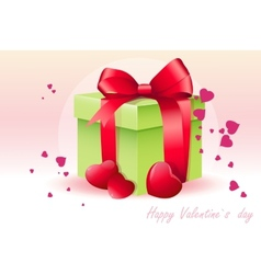 Card for Valentines Day with green box vector image