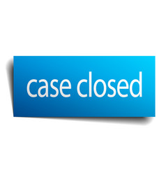 Case closed blue square isolated paper sign vector