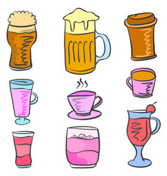 Collection drink set various doodles vector