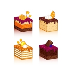 Collection of cakes pieses vector image