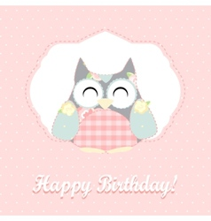 cute owl happy birthday card vector image