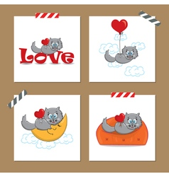 Cute valentines day cards with funny cat vector