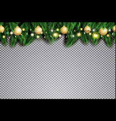 fir branch with neon lights and golden christmas vector image
