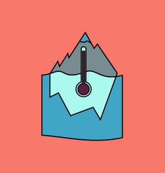 Flat icon design collection iceberg and vector